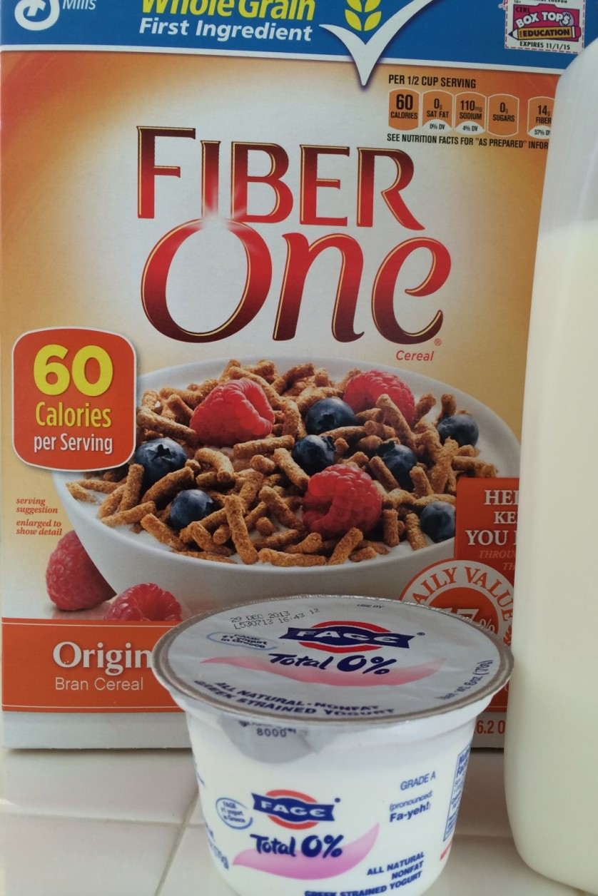 Fiber One Cereal with Fage Greek Yogurt and Fat Free Milk