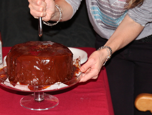 Smashing caramel with knife