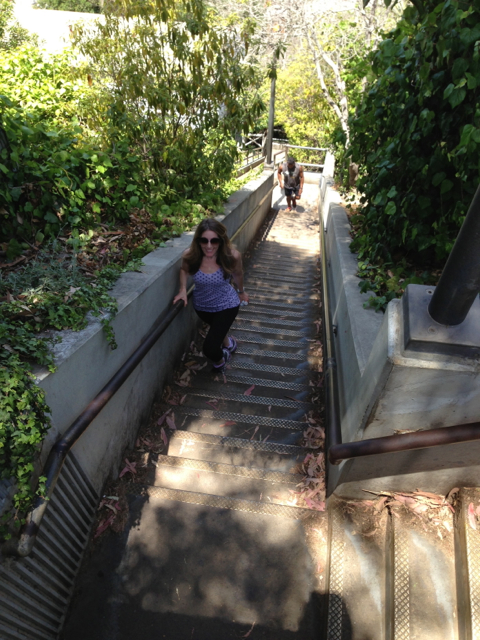Coming up the Santa Monica Stairs