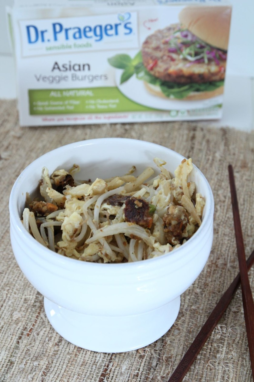 Quick Chop Suey with Dr. Praegers Asian Veggie Burger - OrnaBakes
